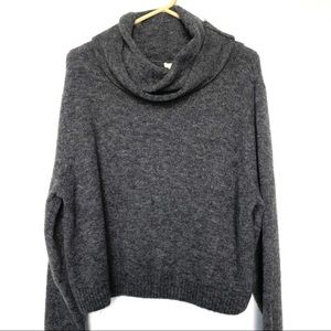 H&M Gray Turtleneck Wool and Mohair Blend Sweater